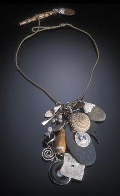 Necklace | Robert Ebendorf. 'Cornwall'. Mixed media. Silver, stone, shells, and bone.
