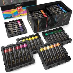 ARTEZA Acrylic Premium Artist Paints Set 60 Colors 60 x 22 ml / US fl oz >>> See this great product. (This is an affiliate link) Outdoor Acrylic Paint, Acrylic Paint Set, Acrylic Painting Tutorials, Acrylic Colors, Fabric Painting, Artist Painting, Painting On Wood, Pour Painting, Painting Lessons