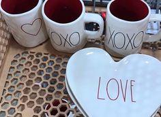 2 NEW Rae Dunn XOXO Hugs & Kisses mugs by Magenta, Perfect Valentine's Day Gift #RaeDunn