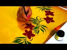 57 Ideas Design To Draw Simple Border Saree Painting Designs, Fabric Paint Designs, Hand Painted Sarees, Hand Painted Fabric, Fabric Drawing, Fabric Painting, Designs To Draw, Cool Designs, Fabric Paint Shirt