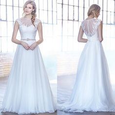 New Arrival Lace Wedding Dresses 2016 Tulle Garden Appliques Beads Sweep Train Capped A-Line White Bridal Gowns Ball Custom Made Online with $103.27/Piece on Hjklp88's Store | DHgate.com