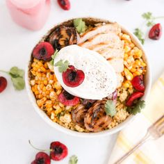This Cherry Burrata Millet Grain Bowl has nutty millet grilled red onions charred shallots spicy corn grilled chicken fresh cherries creamy Burrata and a bright cherry vinaigrette! Its the summer bowl to eat on repeat. Baked Chicken Wings, Grilled Chicken, Rotisserie Chicken, Mushroom Pork Chops, Grain Bowl, On Repeat, Dinner Recipes, Lunch Recipes, Chicken Recipes