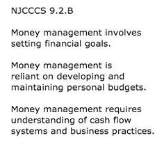 New Jersey World Class Standards Content area: 21st Century Life and Careers Personal Financial Literacy: 9.2.B for grade 12  Text from: http://www.nj.gov/education/cccs/standards/9/9-2.htm