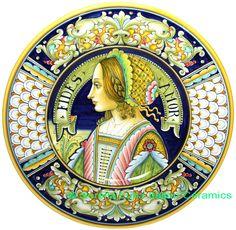 Italian Deruta Majolica Ceramic Portrait Plate | 42cm