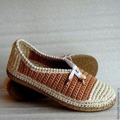 Обувь ручной работы. Ярмарка Мастеров - ручная работа. Купить Мокасины вязаные, беж, хлопок, р.40. Handmade.
