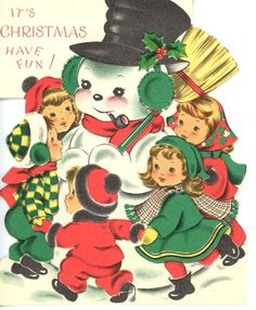 Vintage Norcross Christmas Greeting Card Die Cut Snowman with Children 2017