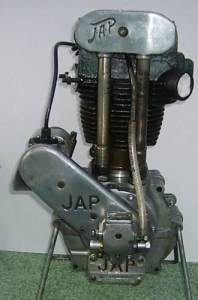 "J.A.P. (J.A.Prestwich) 350cc Single Cylinder ""Dog Ear"" Motorcycle Engine. Made in Tottenham, England. ca1931."