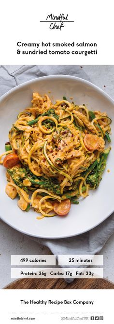 For this healthy fish recipe we've created a delicious creamy hot smoked salmon sauce, served with sundried tomato courgetti for a gluten free nutrient boost.