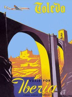 Toledo-Iberia-Spain-Spanish-Airplane-Vintage-Travel-Advertisement-Poster