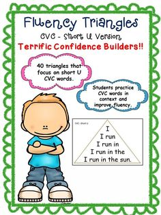 Fluency Triangles - Short U CVC version Reading Fluency Activities, Teaching Reading, Learning, Cvc Words, Sight Words, Reading Task Cards, Short O, Love Teacher, English Sentences