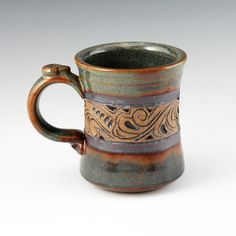 Mug, Carved [B220] - $28.00 : Earthen Vessel Gallery, Durango, Colorado, Pottery, Jewelry, Metal Art, Mixed Media and Wearable Art