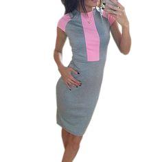 セクシーな夏dress女性ピンクグレー色ブロックタイト装着しドレス2017レディースセクシーな包帯ジッパーバックdress vestidos j3271