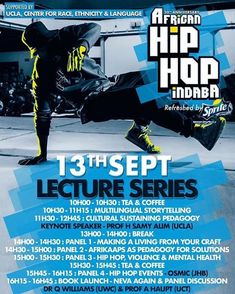 I will be one of the speakers on panel #3: Hip Hop Violence & Mental Health at CPUT Bellville campus this coming Friday.  Support the movement! We use this session to speak the ways in which hip hop can be used to address violence in our communities. At the same time hip hop itself does not operate outside of the systemic violence of apartheid and our patriarchal hangover. - Adam Haupt  #africanhiphopindaba