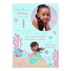 African Mermaid First Birthday Card