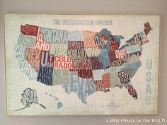 cool map! This would be great in an office or a boys room.  This would be so cool in cross stitch!