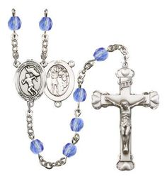 St. Sebastian/Track & Field-Woman Silver-Plated Rosary with 6mm Saphire Fire Polished beads