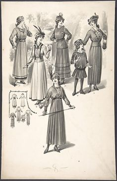 Designs for Women's and Girl's Dresses Attributed to A. Foa  (French, active 1900–1918)