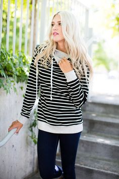 Double Hooded Striped Sweatshirt with Side Zipper
