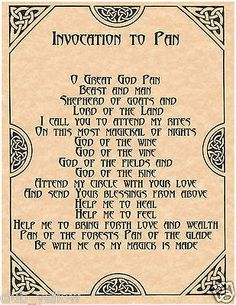 Invocation to Pan Book of Shadows Page BOS Pages Wicca Witchcraft Poster