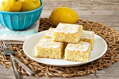 Lemon Brownies With Coconut Lemon Glaze • Paleo, low carb, gluten-free, grain-free, dairy-free, refined sugar-free by #livinghealthywithchocolate