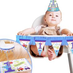 2 Piece All Aboard Blue Boy's 1st Birthday Party High Chair Decorating Kit #Amscan #BirthdayChild