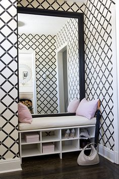 """They're calling this a """"dressing nook"""" but the same idea would be great in an entryway for various accoutrements needed before heading out the door."""