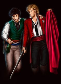 Enjolras (Aaron Tveit) and Grantaire (George Blagden) of Les Miserables