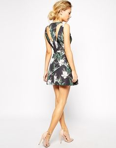 Asos Enlarge Stylestalker Catch A Wave Tropical Print Dress With Plunge Neck