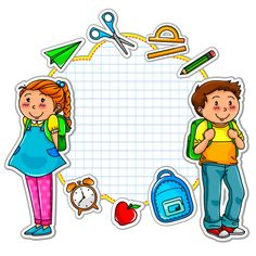 Illustration of school kids and a set of school related items vector art, clipart and stock vectors.