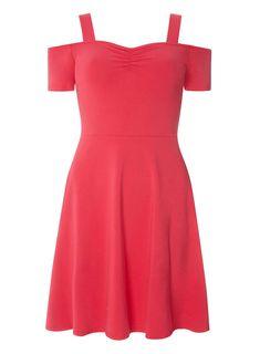 Womens Pink Strap Cold Shoulder Dress- Pink
