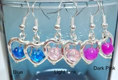 Heart Dangle Earrings, Hearts and Glass earrings. Silver hearts with colored glass beads inside, Super Cute about 1/2 and inch long.