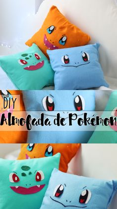 DIY: Como fazer almofada sem costura de Pokémon! - Charmander, Bulbassauro e Squirtle! ♥