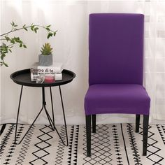 Solid Color Chair Covers Spandex Dining Room Stretch Seat Cover Chair Protective Case for Restaurant Banquet Dining Room Seat Covers, Folding Chair Covers, Banquet Chair Covers, Stretch Chair Covers, Spandex Chair Covers, Seat Covers For Chairs, Dining Room Chairs, Purple Dining Chairs, Couch Covers
