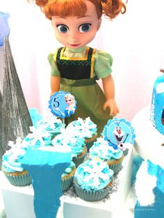 Anna's cupcakes at a Frozen birthday party! See more party planning ideas at CatchMyParty.com!