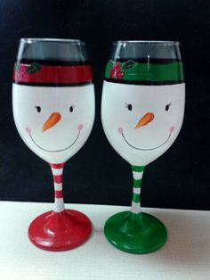 Snowman painted wine glasses