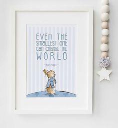 Peter Rabbit Baby Quote Beatrix Potter Nursery Poster Print Christening UNFRAMED