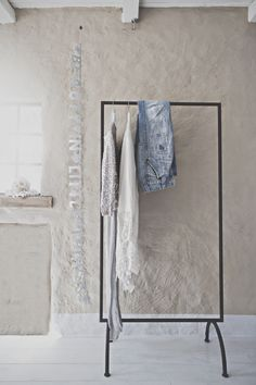 honeypieLIVINGetc ~ Scandinavian like decor ~ Great Idea ~ Clothes to Be Work Rack in the bathroom :)