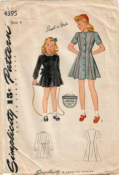0e088d5154b 1940s Simplicity 4395 Vintage Sewing Pattern Girls Princess Dress