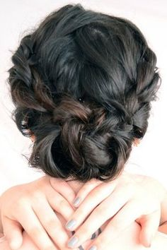 two braids at the side with messy-bun