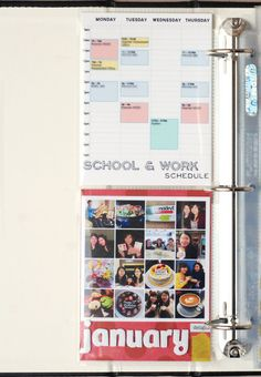 adding your schedule to a scrapbook - great idea! :)