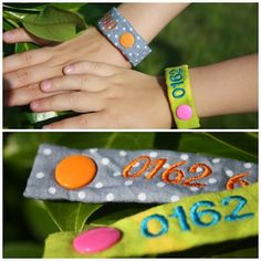 Phone number of parent embroidered on fabric bracelet for kids. This is a great idea for school, amusement parks, sleepover, or any time you are out from or away from your kids.