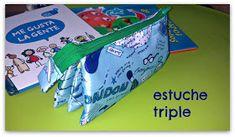 PANDIELLEANDO: Estuche Triple (tutorial) Zip Pouch Tutorial, Pencil Case Tutorial, Pencil Case Pouch, Sewing For Kids, Handmade Bags, Clutch Purse, Sewing Tutorials, Lunch Box, Diy Crafts