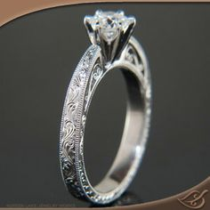 Wow, the details on this ring are incredible. I love the prongs, but not the stone shape. Antique Style Reverse Taper Mounting #jewelryworks #engagement