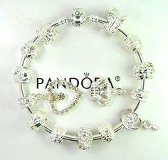 Authentic Pandora Silver bangle charm bracelet with European Charm heart key luv #Pandoralobsterbangleclaspclaw #European