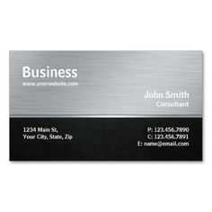 Professional Modern Metal Silver Computer Repair Business Card Template