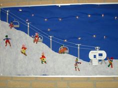 Skilandschap Winter Kids, Winter Snow, Winter Art Projects, Projects To Try, Theme Sport, Art For Kids, Crafts For Kids, January Art, Camping Crafts