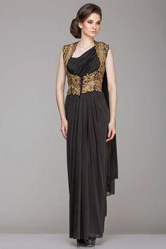 Black draped saree with heavy golden work