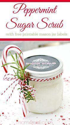 Peppermint Sugar Scrub with Free Printable Labels. Fun gift idea.
