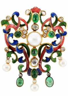 Gold, Enamel, Diamond, Cabochon Emerald, Freshwater and Cultured Pearl Brooch One round freshwater button pearl ap. 8.8 mm., 3 pearls ap. 5.6, 5.0 & 5.9 mm., rose-cut diamonds, ap. 14 dwts.