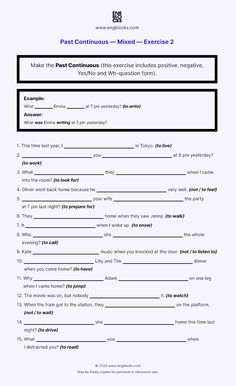 Past Continuous - Mixed - Exercise 2 - Worksheet | English Grammar English Grammar Worksheets, Wh Questions, Past, Positivity, Exercise, Ejercicio, Past Tense, Excercise, Work Outs